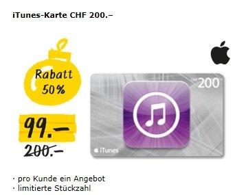 [SCHWEIZ] 200CHF iTunes Guthaben für 99CHF