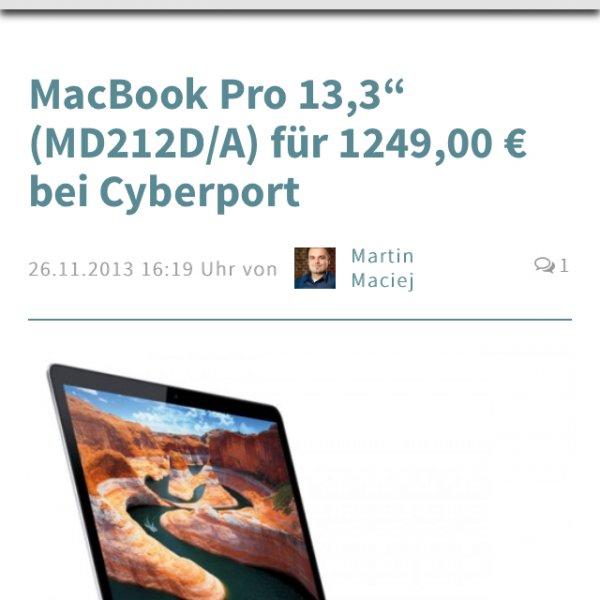 MacBook Pro 13 retina mit 8gb RAM und 128 SSD