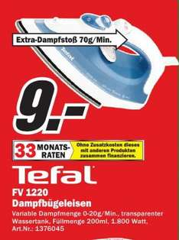 [MM Dresden] Tefal FV 1220 Dampfbügeleisen Inicio Dunkelblau 9€