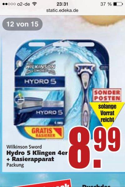 [Edeka]  Wilkinson Hydro 5 Rasierklingen 4 Stck + Rasierer für 8,99€  - 3,00€ durch Scondoo Cashback