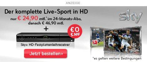 Amazon Cyber Monday Special SKY Sport, SKY Bundesliga + HD Sender und HD+ 24 Monate