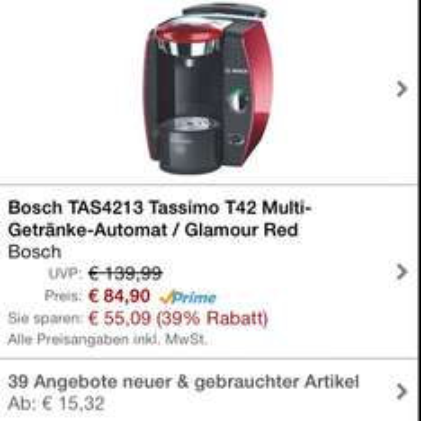 Tassimo T42 @Amazon WHD 15,32€