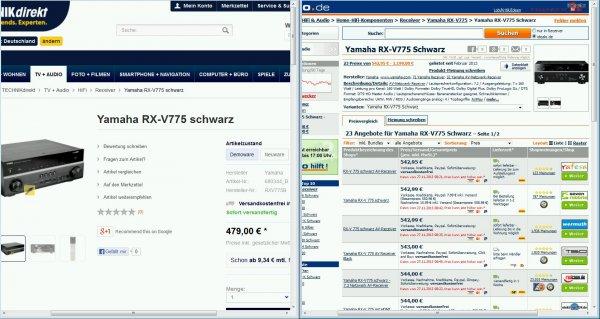 Yamaha RX-V775 schwarz 7.2 AV Receiver @ TECHNIKdirekt Demoware 479,-- €
