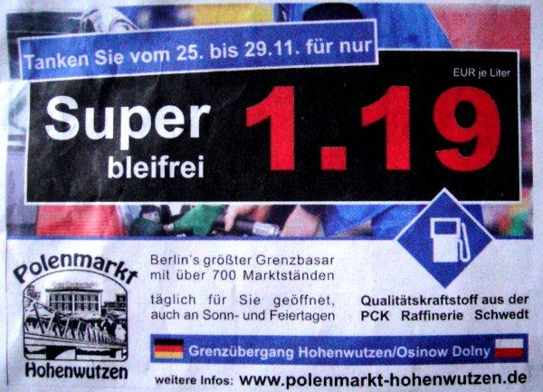 Lokal für Berlin / Brandenburg - Grenzübergang Hohenwutzen - SUPER bleifrei für 1,19 / L noch bis zum 29.11.13