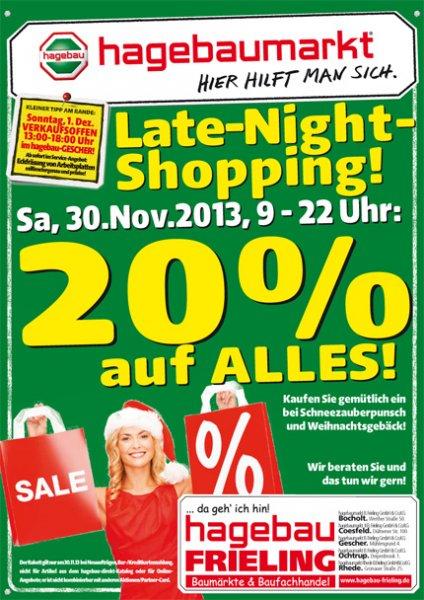 [Hagebaumarkt Coesfeld] 20 % auf alles am 30.11.2013