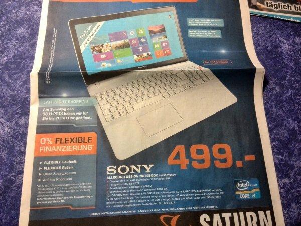Sony Vaio 15 Zoll, i3, NVIDIA GeForce GT 740M für 499€ (Vergleichspreis: 599€)