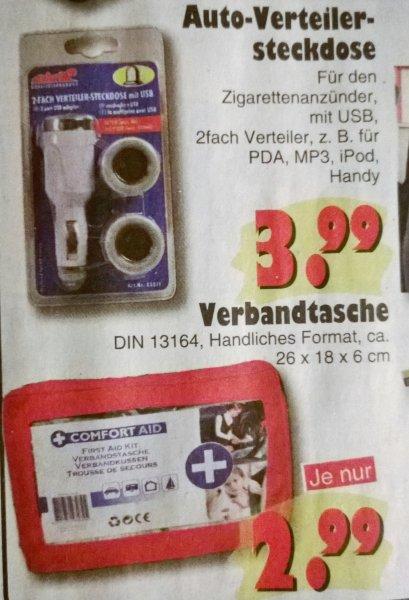 [jawoll] offline Verbandkasten für Auto nur 2,99 € /Auto- Zigarettenanzünder 2 fach Verteiler mit USB nur 3,99 €