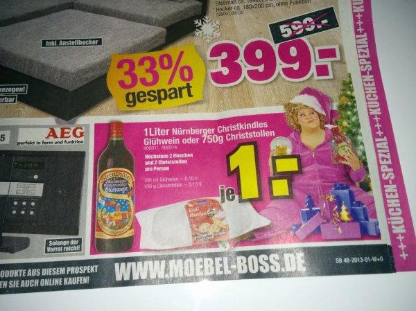 [Lokal] 750g Christstollen für 1€ bei Möbel Boss in Mannheim/Ludwigshafen