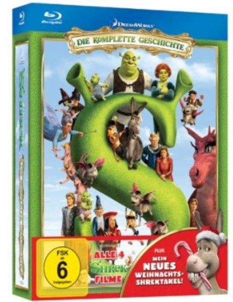 Nur heute: Shrek die komplette Geschichte (alle 4 Teile plus Mein neues Weihnachts-Shrektakel) auf Bluray für 22,95 inkl. Versand und deutschem Ton