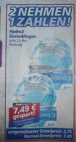 (Real) Hydro 3 Rasierklingen 8 Stück für 7,49€