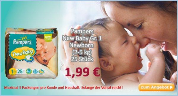 Pampers Newborn 25 Stück für 1,99€ bei baby-markt.de & 6% Qipu