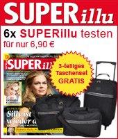 6 x SUPERillu testen für 6,90 EUR, 3-teiliges Taschenset GRATIS dazu!