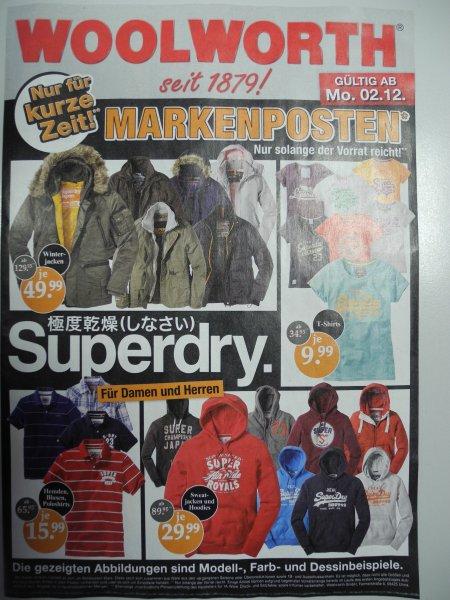 [Offline] Diverse Superdry T-Shirts, Sweatjacken, Winterjacken usw ab 9,99 € @Woolworth