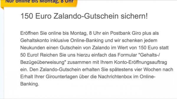 Postbank Giro Gratis + 150€ Zalando Gutschein