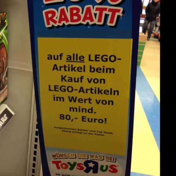 20% auf LEGO (Star Wars) ab 80€ Einkauf - Toys R US (online/offline)