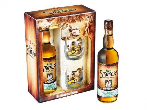[Lidl] Geschenkset kubanischer Rum Santero (5-jährige) inklusive 2 Gläser