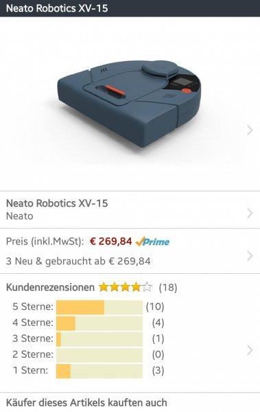 Neato XV-15 Staubsaugerroboter für 269,84 EUR bei amazon.de
