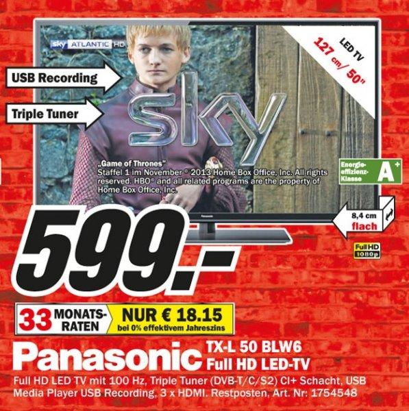 Panasonic TX-L50BLW6 Full HD LED 599€ Lokal [Mediamarkt Mülheim]