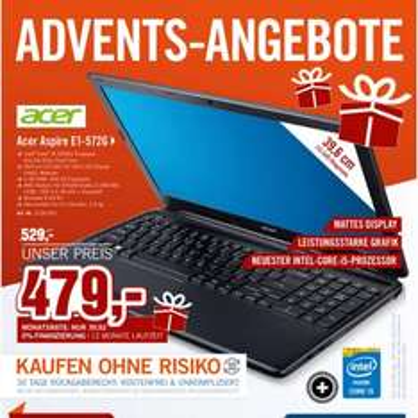 Acer Aspire E1-572G 479€ Cyberport