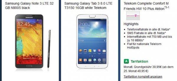 Telekom Complete Comfort M Friends Galaxy Note 3 + Samsung Galaxy Tab 3 8.0 LTE @ handytick