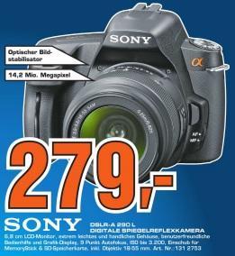 Saturn Leonberg: Sony A290 DSLR-Kit 18-55 für 279€ (PVG 336€), Garmin Nüvi 2360 für 149€ (PVG 182€) und andere Angebote!
