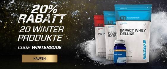 20% Rabatt auf 20 Winter-Produkte bei MyProtein