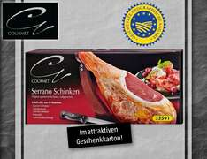 Aldi-Süd 9.12.: Serrano-Schinken mit Schinkenbock, Messer und Wetzstahl nur 45,99 €