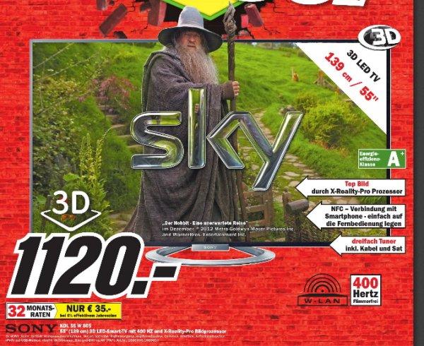 [MM Ludwigshafen  ]  Sony KDL-55W805 140 cm 3D ( (55 Zoll ),LCD-Fernseher,400 Hz ) 1120€