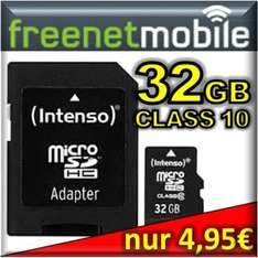 freenetMobile / Klarmobil SIM-Karte + 32GB Intenso micro SDHC (SD) Class 10 für 4,95€