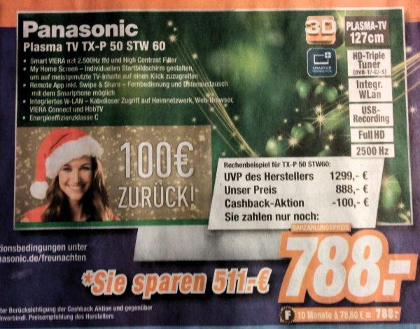 Panasonic TX-P50STW60 127 cm (50 Zoll) 3D Plasma-Fernseher, EEK C (Full HD, 2500Hz ffd, DVB-S/-T/-C, Smart TV, WLAN, USB) schwarz für 888 € @ media park Greven,Steinfurt,Emsdetten!(Lokal)