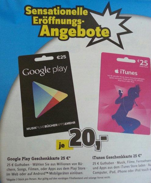 [Local Conrad Frankfurt und Mainz ] Google Play und iTunes Geschenkkarte für 20 statt 25 € Aktionszeitraum  5.12 bis 14.12.2013