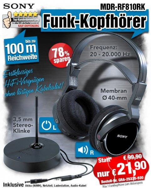 Pearl: SONY Funk-Kopfhörer MDR-RF810RK, 100 Meter Reichweite: 26,80 €