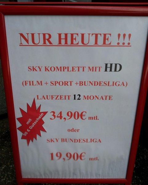 SKY KOMPLETT MIT HD FÜR 34,90€ + 50€ GUTSCHEIN BEI MEDİAMARKT KOBLENZ