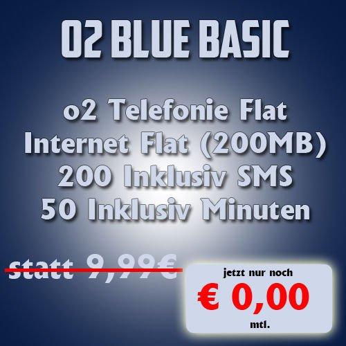 o2 Blue Basic für 0,00€/Monat (4,99€ und 119,76€ Cash) KOMPLETT KOSTENLOS
