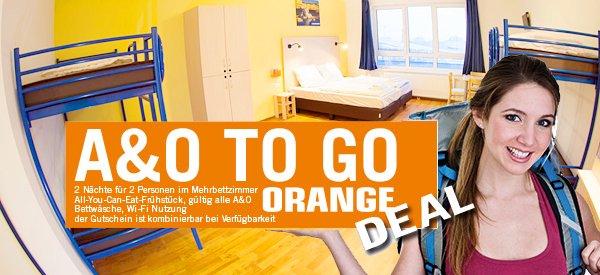 A&O TO GO Orange! 2 Übernachtungen im Hostel für 2 Personen in 16 Städten in 3 Länder für 29,98€