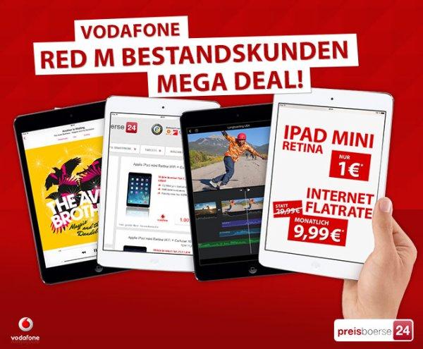 iPad Mini Retina 16GB + Cellular inkl. Vodafone Datenflat = 240,00 €