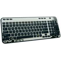 Logitech K360 Wireless Keybord, Funktastatur, Kabellos, Funk, Ink Gears, Weiß, Schwarz