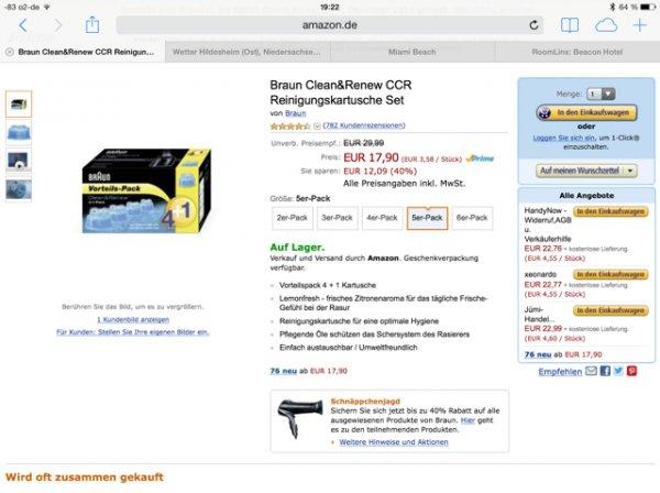 Braun Reinigungs/Renew Kapseln für 17,90€ bei Amazon (ggfs. Porto)
