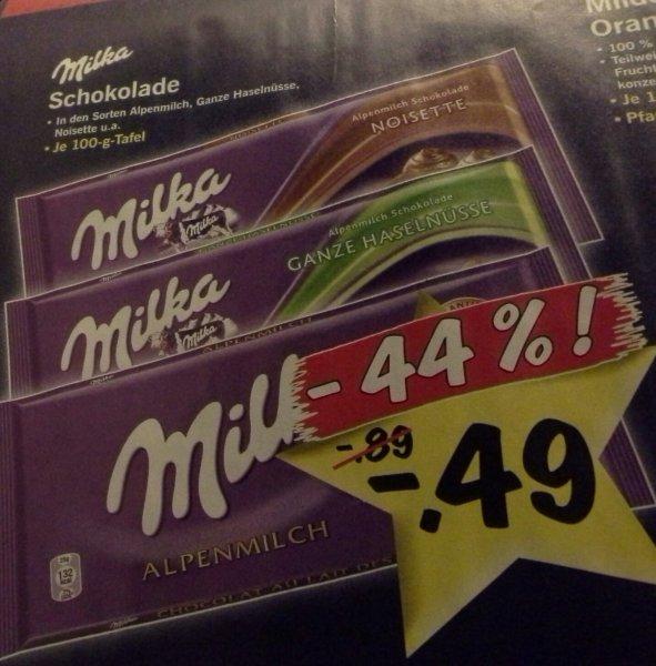 [Lidl] Milka Schokolade, 100g Tafel