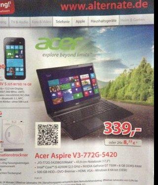 [Giessen lokal, www.alternate.de] Notebook Acer Aspire V3-772G-54208G50Makk
