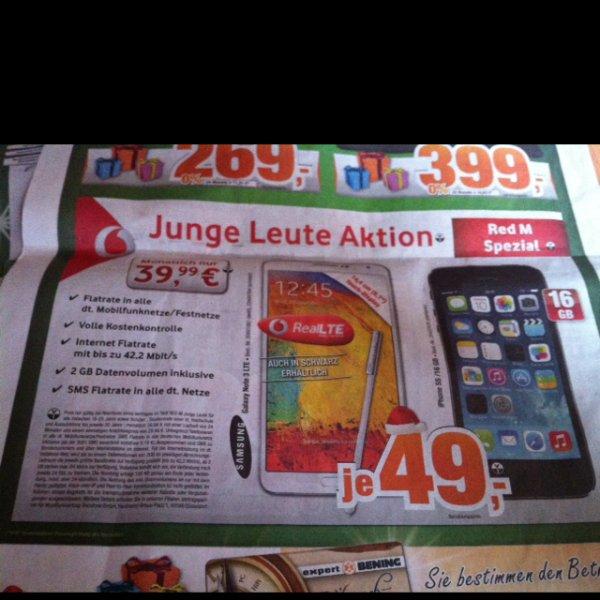 Samsung Note3 und iPhone 5s 39,99€ monatlich
