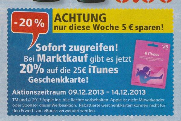 [Marktkauf] 5€ Rabatt auf 25€ iTunes Karte