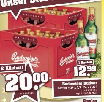"""[Lokal]  2 Kisten Budweiser bei Trinkgut 20€+ 6,20 Pfand """"Bundesweit"""""""