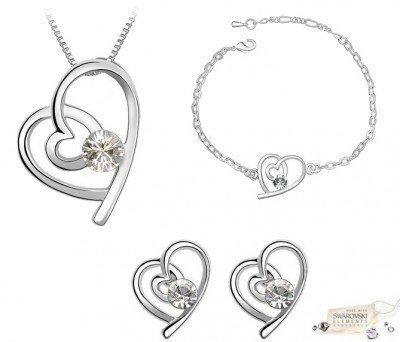 Schmuck-Set: Herzförmige Halskette, Ohrringe & Armkette mit SWAROVSKI® ELEMENTEN