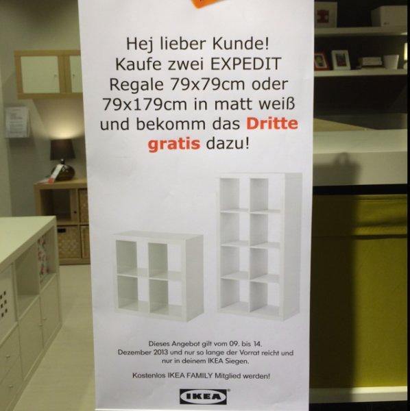 [Lokal] Ikea Siegen: 3 für 2 EXPEDIT Regale 79x79 oder 79x149 weiß
