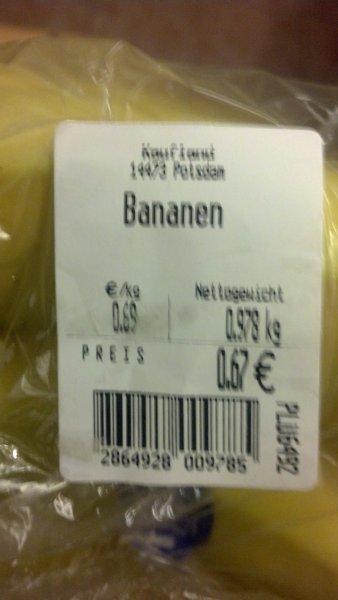 Bananen 1Kg 0,69€  Kaufland Potsdam Hbf (lokal)