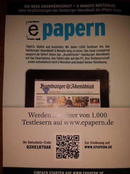 6 Monate Hamburger Abendblatt als epaper Gratis