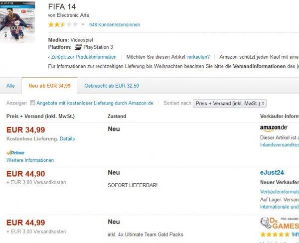 [PS3] FIFA 14 für 34,97€ @ Amazon (nur bis 24Uhr)