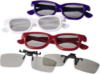 Hama 3D-Polfilterbrillen Party-Set 3x 3D-Brille weiß/ rot/ blau und 2x Clip-On