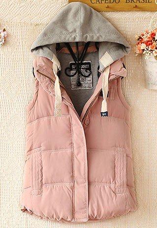 Baumwolle Damenweste mit abnehmbarer Kapuze für 33,74€